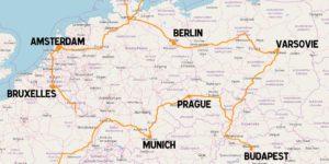 carte villes europe voyage train